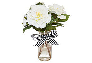 Gardenias in Bottle with Bow #51150