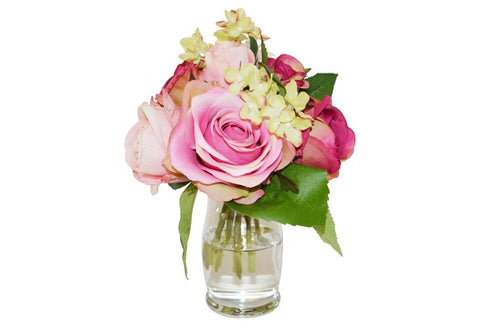 Roses & Hydrangea in Small Hourglass Vase #51152