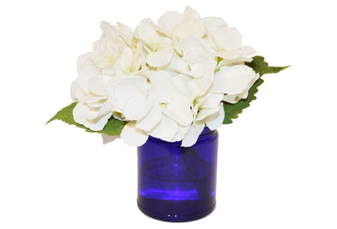 White Hydrangea in Glass Blue Vase #51180