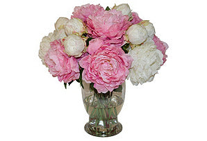 Cream & Pink Peonies in Vase #51319