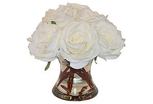 White Roses in Medium Flared Vase #51347