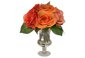 Red & Orange Roses in Urn #51348