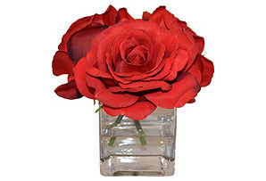 Red Roses in Cube Vase #51349