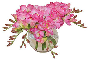 Pink Freesia in Round Vase #51353