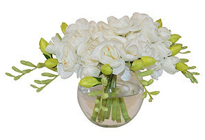 White Freesia in Round Vase #51354
