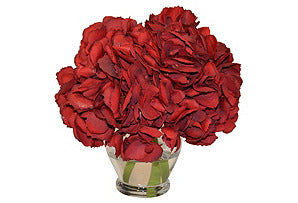 Red Hydrangea in Tall Rose Bowl #51357
