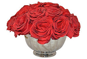 Roses in Silver Bowl #51361