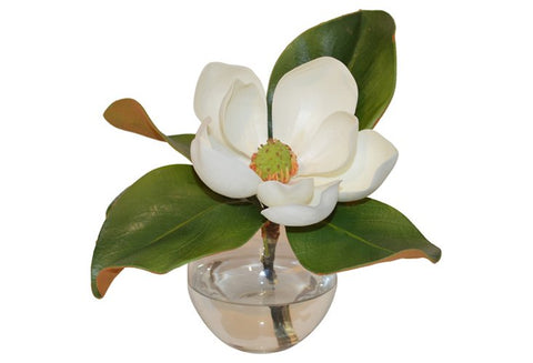 Single Magnolia in Round Glass Vase #51363