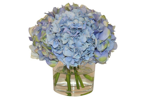 Blue Hydrangea Mix in Cylinder Vase #51374