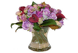 Rose, Calla Lily, Sweet Pea in Flared Vase #51377