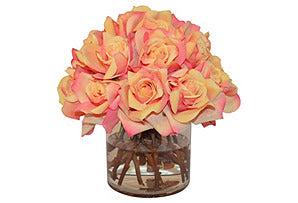 Sunset Roses in Cylinder Vase #51378