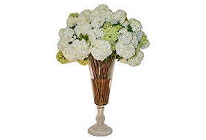 White & Green Snowballs in Large Glass Urn #51385