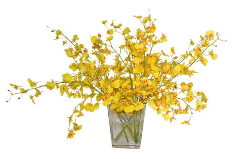Oncidium Orchids in Glass Vase #51455