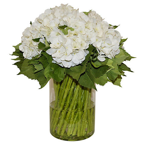 White Hydrangeas with Green Stems in Large Cylinder Vase #51460