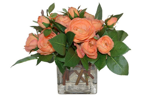 Orange Rose Spray in Square Vase #51615