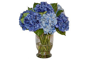 Blue Hydrangeas in Glass Vase #51628
