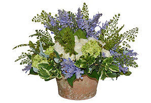 White Roses/Green Hydrangeas/Lavender in Moss Pot #51638