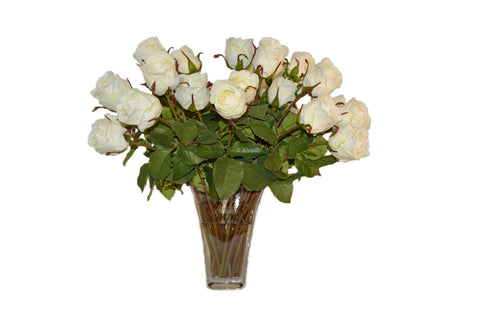 Cream Roses in Glass Vase #51674