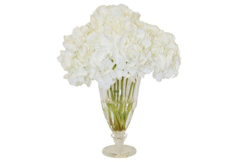 White Hydrangeas in a Footed Glass Vase #52025