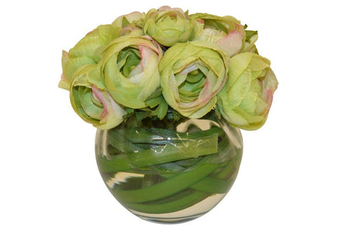 Green Ranunculus in a Round Vase with Foliage #52054