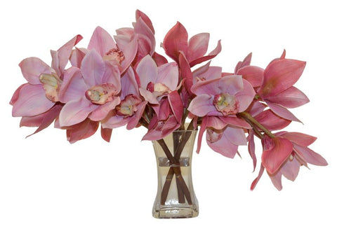 Pink Cymbidium Orchids in a Glass Vase #52143