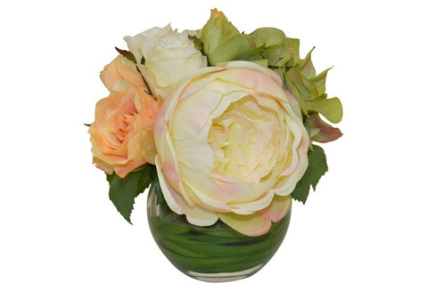 Rose & Hydrangea Bundle in a Round Vase with Foliage #52144