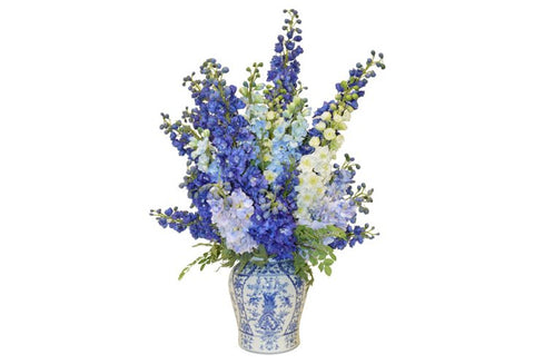Blue and White Delphinium in a Blue and White Vase #52147