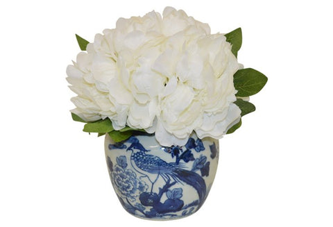White Peonies in a Blue and White Bird Container #52165