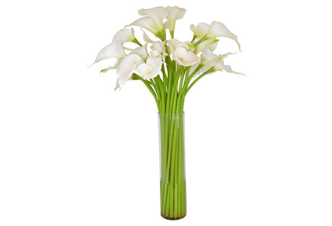 White Calla Lilies in a Tall Cylinder Vase #52259