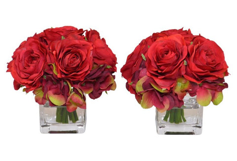 Set of 2 Red Roses & Hydrangea in a Glass Cube Vase #52329