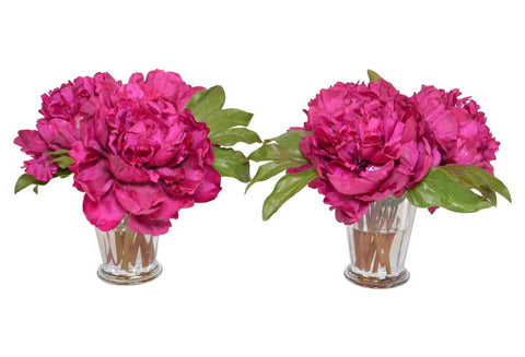 Set of 2 Magenta Peonies in a Glass Mint Julep Cup #52353