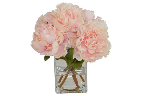 Light Pink Peonies in a Tall Square Glass Vase #52388