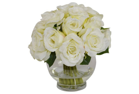 Cream Roses in a Round Glass Vase #52389