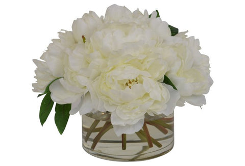 Cream Peonies in a Cylinder Glass Vase #52394