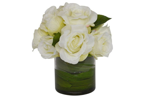 Cream Roses in a Cylinder Glass Vase with Orchid Foliage #52401
