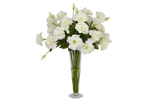 White Lisianthus in a Glass Vase #52443
