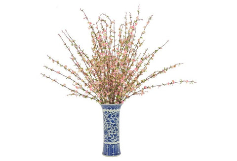 Pink Cherry Blossoms in a Tall Blue and White Vase #52475
