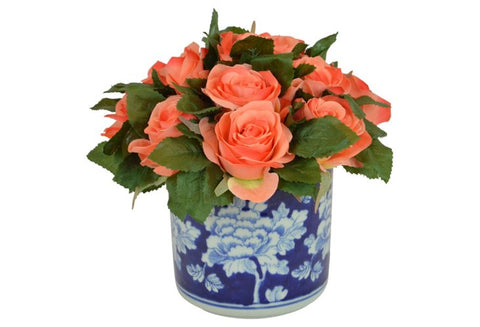 Coral Roses in a Blue and White Cylinder Container #52487