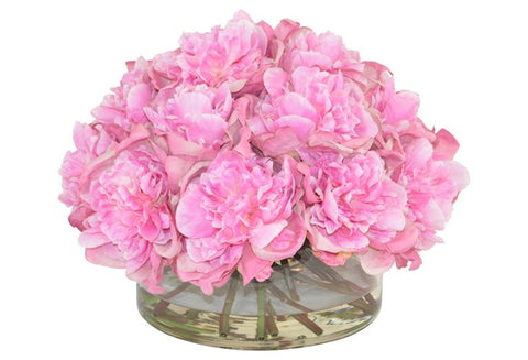 Pink Peonies in a Large Glass Cylinder Vase #52497