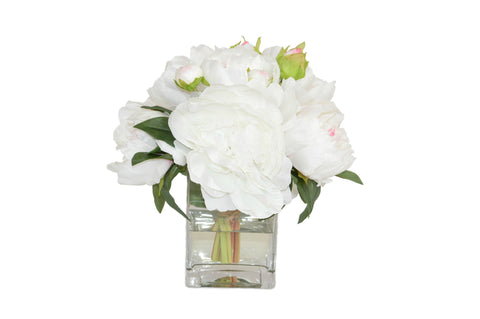 Cream Pink Peony Bouquet in Square Vase #52783
