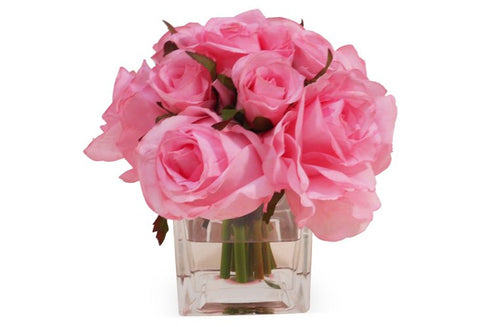 Pink Roses in Square Vase #6002