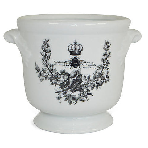 "6"" Crowned Bee Cachepot, White/Black #FBC9378"