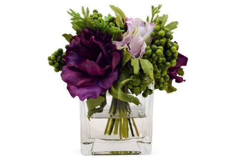 Mixed Flowers in Square Vase #8180
