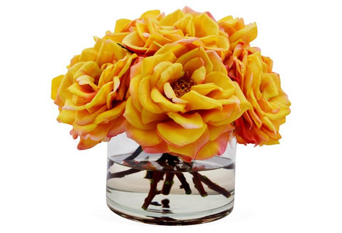 Sunset Bloomed Roses in Cylinder Vase #8188