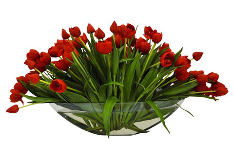 Red Tulips in Glass Boat Vase #8425
