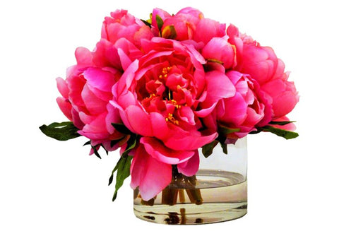 Fuchsia Peonies in Cylinder Vase #8741