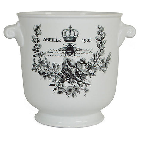 "8"" Abeille 1905 Planter, White/Black  #FBC9380"