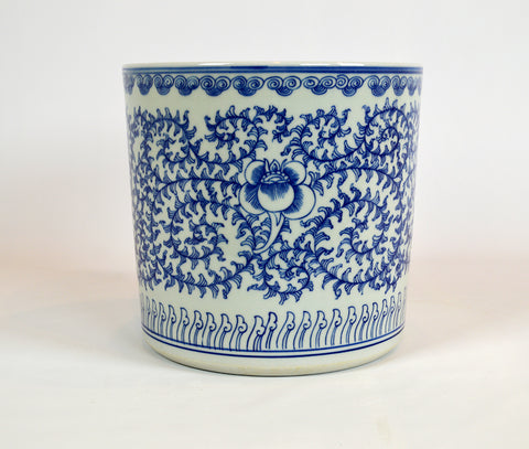 Blue Scroll Cachepot #BWCT108