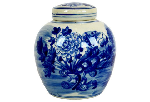 Peony Floral Lidded Blue and White Ginger Jar #BWCT113