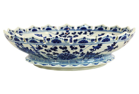 Low Blue and White Scalloped Floral Bowl #BWCT116